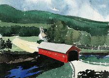West Arlington Covered Bridge. Vermont classic landscape. Watercolor notecards