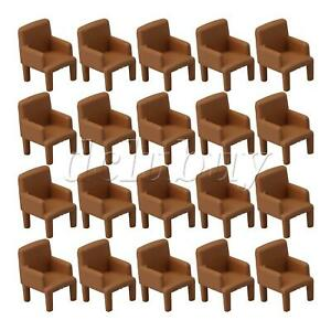 20 pcs Set 1:50 Model Chairs for Doll House Miniature Sofa Chairs Brown