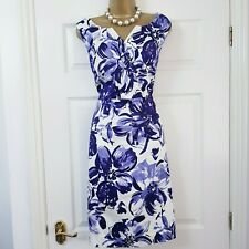 PRECIS Dress Size 14 Purple White Floral Print Occasion Evening party Wedding