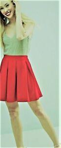 Womens New Linen Pleated Dark Pink Mini Summer Skirt UK Sizes  10-12-14-16-18
