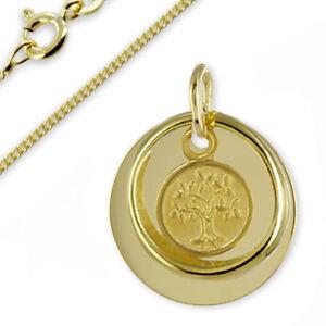 Taufkette Gravur Platte Taufring mit Lebensbaum-Gold333(8Karat)- &Silberkette
