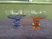 Orange Blue Hollow Stem Art Glass Martini Margarita Cocktail Glasses Set of 2