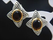 Vintage AVON N R Cabochon Silver and Gold Tone Earrings