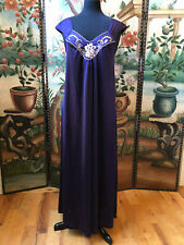 Vintage Lingerie Nightgown Floral Embroidered Gown Blue Purple Color Sz Med