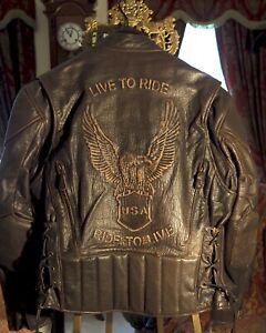 XELEMENT Leather Biker Jacket MEDIUM Buffalo Brown USA EAGLE