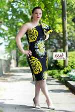 Black and Yellow Ankara Dress. One Shoulder. Knee length.