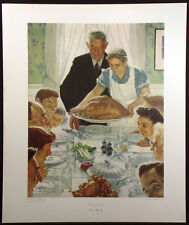 """Norman Rockwell """"Freedom From Want"""" Vintage Collotype Art Print Thanksgiving OBO"""