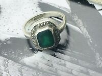 Antique 20s Jewellery Art Deco Emerald Paste Marcasite Ring UK  K