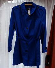 M&S Women's Stormwear Trenchcoat Cobalt Blue Overcoat T49/3200 Size 20 New
