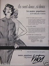 PUBLICITÉ 1956 VITOS SWEATERS PROPORTIONNÉS FULLY FASHIONED - ADVERTISING