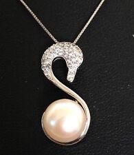 Clásico genuino 925 Plata de agua dulce Swan Pearl Zc Colgante Collar