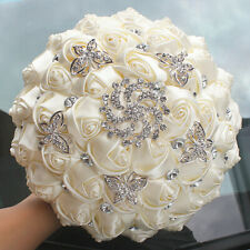 Ivory Cream Brooch Bouquet Bride Bridesmaids Wedding Silk Rose Flower Rhinestone