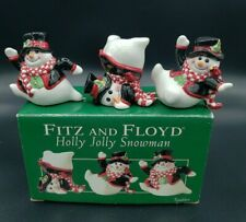 2004 Retired Fitz Floyd Holly Jolly Tumbling Snowmen Set of 3 Tumblers Orig Box