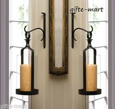 "2 set large 16"" Black Artisanal Sconce WALL hook mount pillar candle holder lamp"