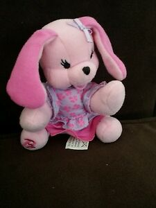 """2001 Barbie pink doggy Bean Bag Plush with clothes 4 1/2"""" 3+ Mattel"""