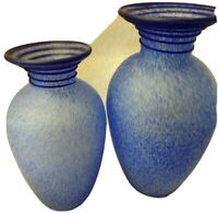 "PAIR OF BLUE SPECKLED ART GLASS VASES-9.5"" & 12""-DISPLAYED ONLY-NARROW NECK"
