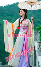 China Tang Kimono Green Gream Floral Chiffon Dress Cosplay Custom HandMade HanFu