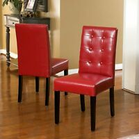 Set of 2 Elegant Design Red Leather Dining Chairs w/ Tufted Button Accents