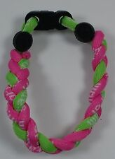 "New! 8"" Pink Neon Lime Green Titanium Sport Bracelet Tornado Band"