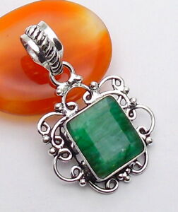 Emerald Gemstone Jewellery PENDANT 925 Silver OVERLAY Hand Made 36mm