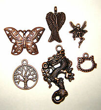 6 Copper 3D Charm Pendant Mix Butterfly Wings Fairy Tree Dragon Cat 1 of each