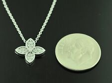 18k Solid White gold   Natural Diamond Necklace  clover style
