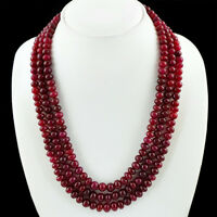 557.00 CTS EARTH MINED RICH RED RUBY 3 STRAND ROUND SHAPED BEADS NECKLACE (DG)