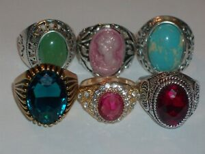 6 Pc. Rhinestone/Stone Variety Large Ring Lot- Sizes 7, 8 and 9 (Cameo Ring)
