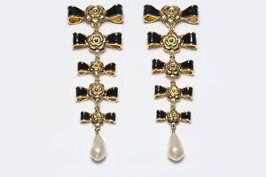 CHANEL Paris Couture 1990's Extra Long Black Enamel Bows Camellia Pearl Earrings