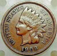 1908 INDIAN HEAD PENNY - VF - LIBERTY -