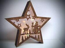 3D LED Bois 38cm étoile sans fil Fenêtre illuminé Tableau mural laserholz 100198