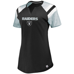 Oakland Raiders Women's Majestic Ultimate Fandom V-Neck T-Shirt