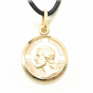SOLID 18K YELLOW GOLD JESUS CHRIST REDEEMER 11 MM MEDAL, PENDANT, MADE IN ITALY