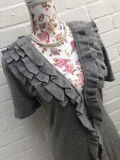 New M&S Cardigan Long Grey Angora Blend Size 12 Warm Wrap Ruffle Victorian Top