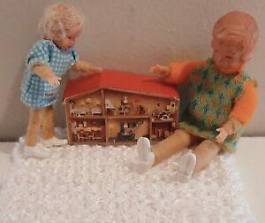 Old Vintage German CACO MINIATURE GIRL SISTER DOLLS Bendy Dolls House Toy