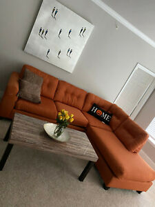 Orange L shaped couch modern reversible sectional