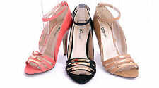 WOMENS LADIES EVENING PARTY STRAPPY FRONT HIGH HEEL PEEP TOE SHOES SIZE 3-8