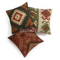 "Ethnic Sofa Sham Decorative Cushion Cover Throw Rustic Pillowcase 18"" Kilim Jute"