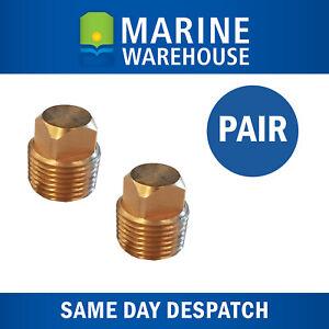 "Bronze Boat Garboard Drain Plug Marine Transom Brass Bung Pair 1/2"" Thread"