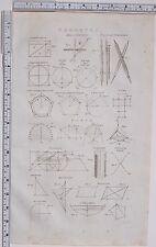 1788 Antiguo Impresión Geometría elíptica brújulas acordes & polígono diagrama de círculo