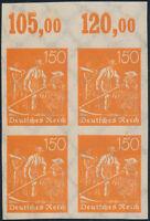 DR 1922, MiNr. 189 U im Viererblock, sauber ungebraucht, Mi. 200,-