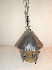 Lanterna lampada con catena vetro e ferro battuto e vetro giallo