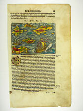 VON DEN INSELN ABOUT ISLANDS COSMOGRAPHIA SEBASTIAN MÜNSTER MUNSTER 1598 #D981S