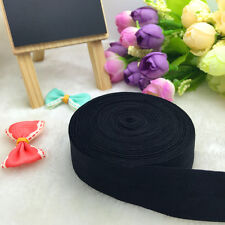 New 5 Yards 20mm Black Fold Over Elastic Spandex Satin Band Ties Accessorie