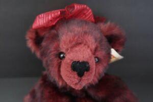 "Dakin Applause Ruby Red Tipped Teddy Bear Plush 56198 Burgundy Black NEW 13"""