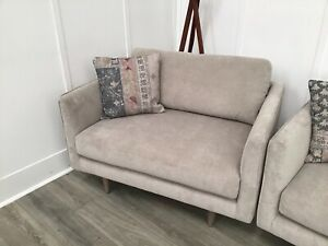 Famous Store Cuddler Armchair In Taupe Fabric (Poppyfield)