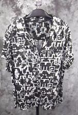 Alfani Knit Top Blouse Size 2X Gray Black Geometric Print Short Sleeve