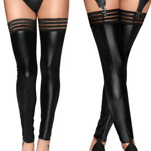 Plus Size Women PU Leather Stockings Over Knee Socks Long Boot Thigh-High Stocki