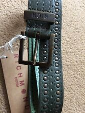 "RICHMOND Men's 100% Leather Green Studded Belt, Size 85cm/32"", RRP£90"