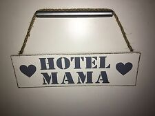 "Holz Schild ""Hotel Mama"" Herzen weiß grau Kordel 27cm x 8cm Shabby Vintage Deko"